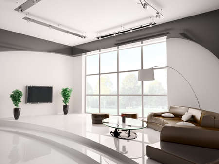 Modern living room interior with round sofa and lcd 3d Stock Photo
