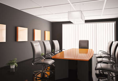 conference room with orange table 3d render photo