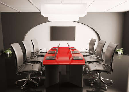 conference room with lcd and laptops on red table 3d render Stock Photo - 6697441