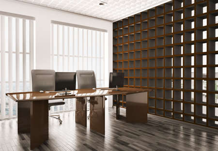 Modern office with computers interior 3d render Stock Photo - 6697445