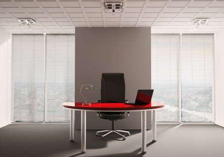 Bureau moderne avec table rouge int�rieur 3d rendre