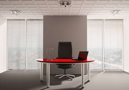 Modern office with red table interior 3d render Stock Photo - 6744757