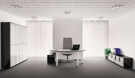 office cabinet: Modern office interior 3d render Stock Photo
