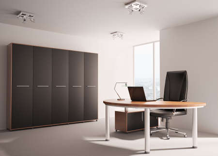 office cabinet: Modern office with wooden table interior 3d render Stock Photo