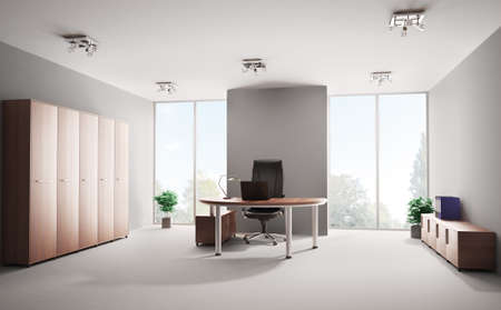 office cabinet: Modern office with wooden furniture interior 3d