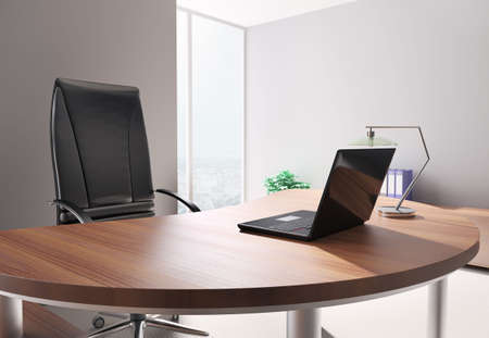 Modern office with laptop interior 3d render Stock Photo - 6797672