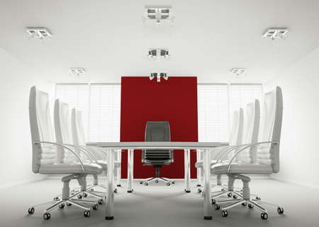 White red conference room interior 3d render photo