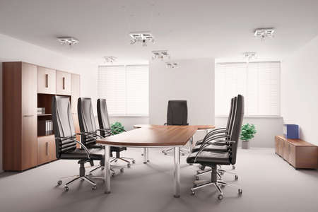 conference room with wooden furniture interior 3d Stock Photo - 6797674