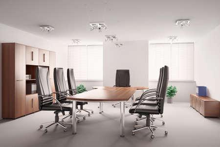 salle de conf�rence avec des meubles en bois int�rieur 3d Banque d'images