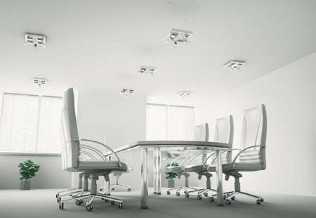 White conference room interior 3d render photo