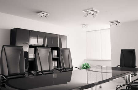 conference room with black furniture inter 3d Stock Photo - 6791522