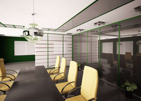 Modern boardroom with yellow chairs interior 3d photo