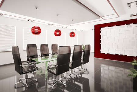 Modern boardroom with glass table interior 3d photo
