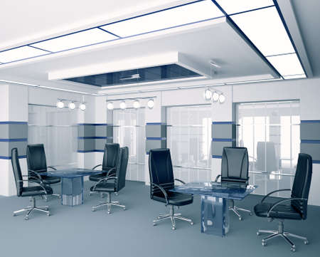 Modern boardroom with glass tables interior 3d photo