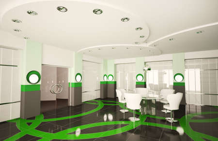 Modern boardroom with round glass table interior 3d photo