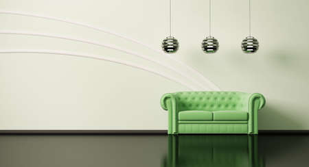 Green sofa in apple-green room with black floor 3d photo