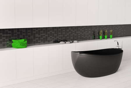 bathroom interior with black white wall 3d render photo