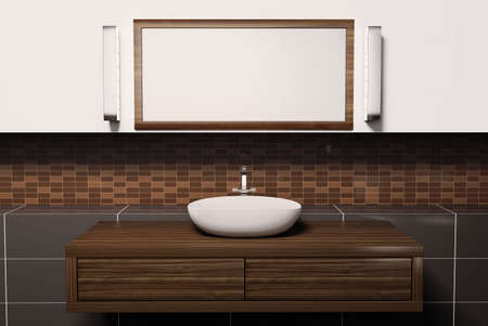 Washbasin mirror and lamps 3d render Stock Photo - 6895232