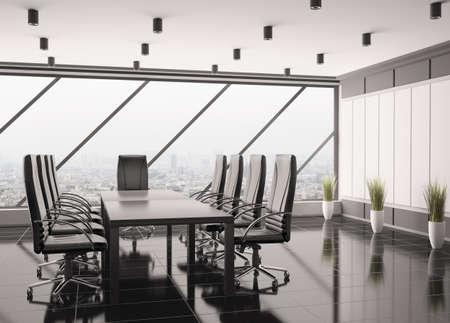 Modern boardroom interior 3d render photo