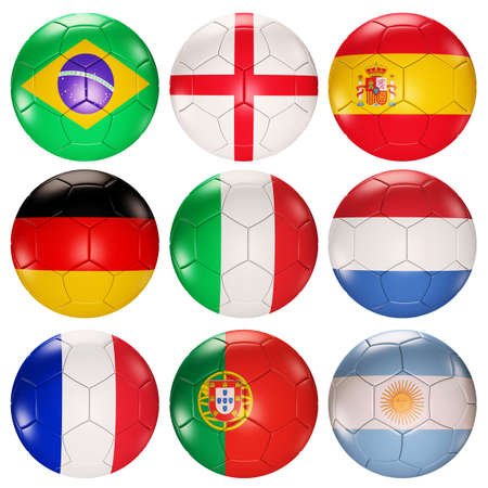 Soccer balls flags of top ranked countries 3d render photo