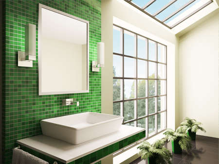 Bathroom with big window interior 3d render Stock Photo - 7048186