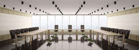 Modern boardroom interior panorama 3d render photo