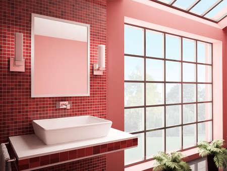 Red bathroom with big window interior 3d render Stock Photo - 7048196
