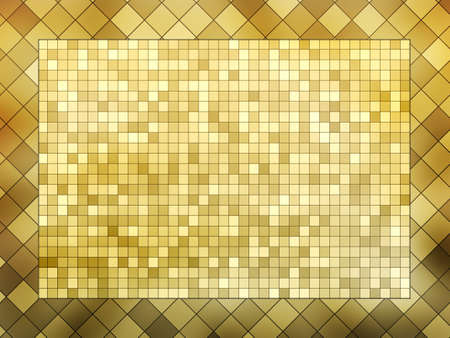 mixed wallpaper: gold mosaic frame background illustration Stock Photo