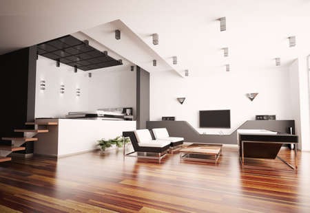 Modern apartment with living room and bedroom interior 3d photo