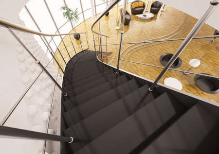 Metal staircase with black steps in modern apartment interior 3d render photo