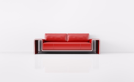 Red sofa over the white wall 3d render Stock Photo - 20378838