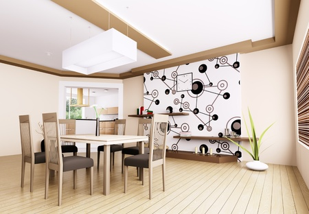 Interior of modern dining room 3d render Stock Photo - 21972636