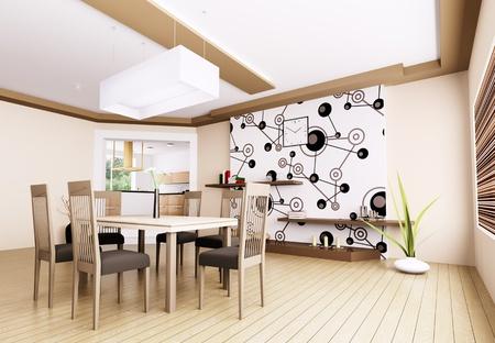 Interior of modern dining room 3d render Stock Photo - 21972636