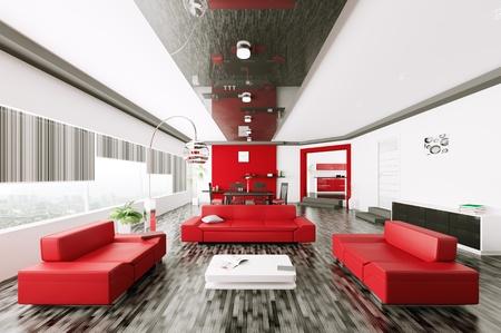 Interior of modern living room 3d render Stock Photo - 21972637