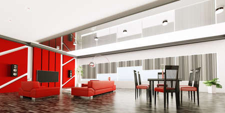 Inter of modern apartment living room panorama 3d render Stock Photo - 21972638