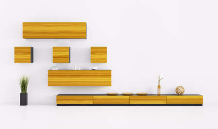 Interior of living room with shelves 3d render Stock Photo - 21972639