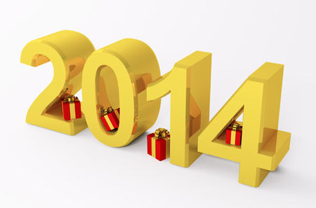 Golden 2014 year with gifts 3d render isolated photo