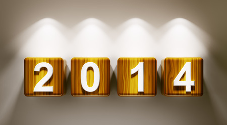 2014 new year wooden cubes 3d render Stock Photo - 23035664
