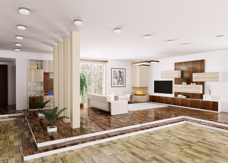 Inter of modern apartment 3d render Stock Photo - 23035665