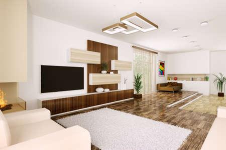 Interior of modern living room 3d render Stock Photo - 23035682