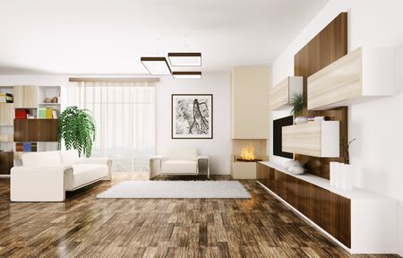 Interior of modern living room 3d render Stock Photo - 23035683