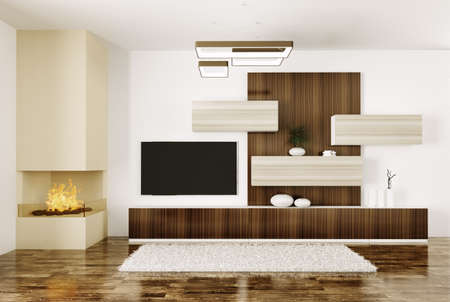 Interior of modern room with fireplace and lcd tv 3d render Stock Photo - 23035476