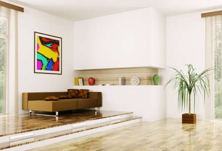 Interior of modern room wit sofa 3d render Stock Photo - 23035692