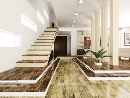 Interior of modern entrance hall with staircase 3d render Stock Photo - 23035693