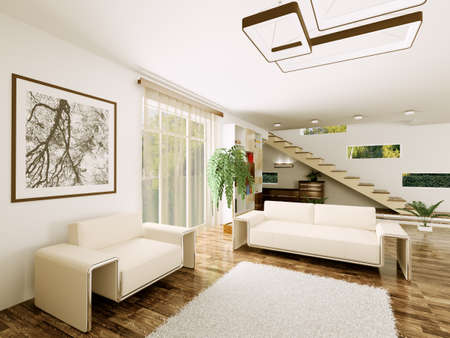 Interior of modern living room with staircase 3d render Stock Photo - 23035695