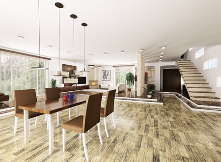 Inter of modern apartment living room hall 3d render Stock Photo - 23035696