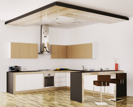 Interior of modern kitchen 3d render Stock Photo - 23035697