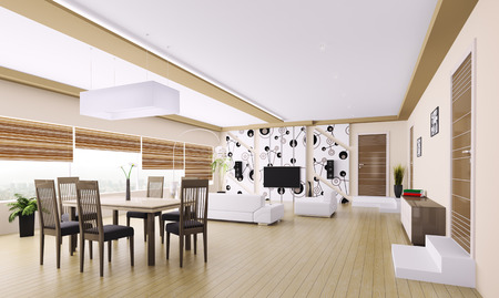 Interior of modern apartment living room 3d render photo