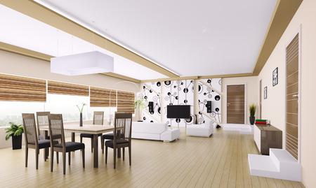 Interior of modern apartment living room 3d render Stock Photo