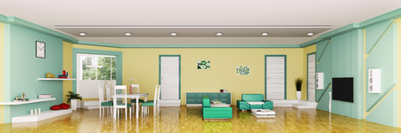 Interior of modern apartment living room panorama 3d render Stock Photo - 23035699